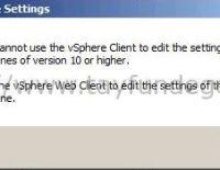Hardware Version 10 vSphere Client ile yönetilemiyor