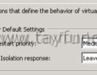 VMware High Availability Host Isolation Response seçenekleri
