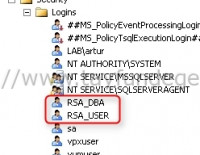Single Sign On RSA_DBA ve RSA_USER oluşturmak