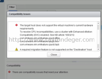 vMotion Hatası – CPU incompatibilities