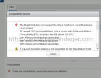 vMotion Hatası – CPU incompatibilities
