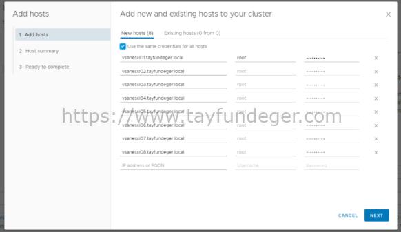 VSAN Add Hosts