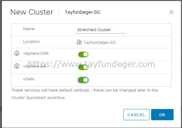 VSAN New Cluster