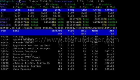 vCenter Server ve vimtop