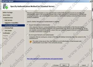 Specify Authencation Method for Terminal Server