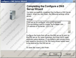 Completing configure a dns server wizard