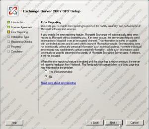 Exchange Server 2007 Error Reporting