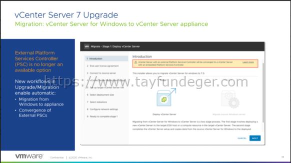 vCenter Server 7 Upgrade Öncesi