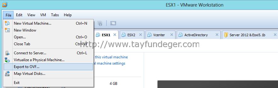 export machine vmware